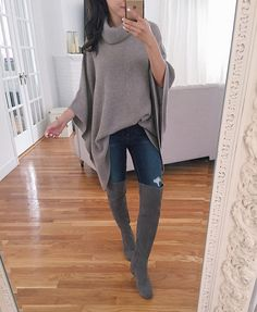 wool cashmere poncho / cape sweater with over the knee gray boots ~ petite fall outfit ideas
