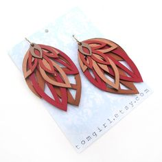 Hand Cut bronze and Red Leather Leaf Earrings by tomgirl on Etsy, $68.00