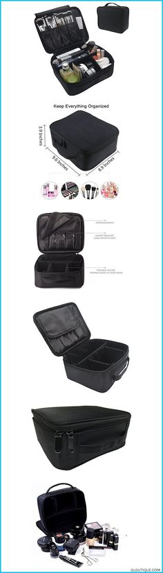 Portable-Makeup-Train-Case-FLYMEI-Waterproof-Cosmetic-Organizer-Kit-Make-Up-Artist-Storage-for-Cosmetics-Makeup-Brush-Set-Jewelry-Toiletry-And-Travel-Accessories-Black #jewelryorganizer #blackmakeuporganizer