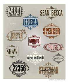 DOWNLOADABLE BORDERS  FRAMES 1 ... 15 elegant vector designs for customized monograms and quotes.  Perfect for framed glass, front doors, mailboxes, and well, anything cute. @ My Vinyl Designer (http://www.myvinyldesigner.com/Products/frames--borders-1.aspx)