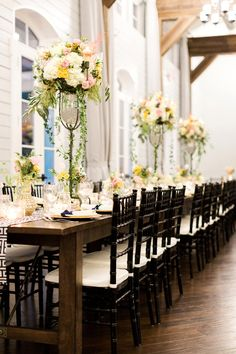 Tall, Chic Hydrangea & Rose Centerpiece | Rustic White Photography