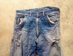 Vintage 1950s 1960s Mens Sanforized Indigo Denim Selvedge Work Carpenter JEANS Pants 33x30 Lee Levis Wrangler