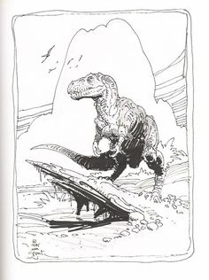 Dinosaur by William Stout, in Steve Welch's William Stout Comic Art Gallery Room Dinosaur Drawing, Dinosaur Art, Ink Illustrations, Illustration Art, Dinosaur Images, Extinct Animals, Prehistoric Creatures, Comic Book Artists, T Rex