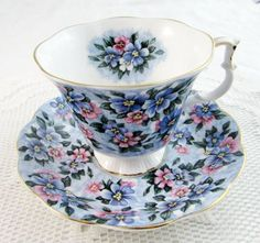 "Royal Albert Garden Party Series ""Blue Bouquet"" Blue Floral Tea Cup and Saucer, Vintage Bone China:"
