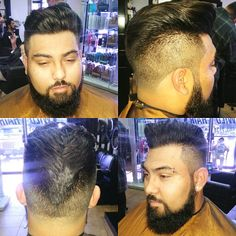 Modern retro slick back with beard trim and line up
