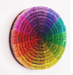 Color wheel wall art, handmade from paint brushes. thd.co/15gK1id
