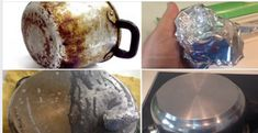 How to Remove Burned Cookware: With Just One Sheet of Aluminum Foil - iDicas Casseroles, Juice Smoothie, Tea Recipes, Home Hacks, Clean House, Tricks, Kettle, Cleaning Hacks, Kitchen Gadgets