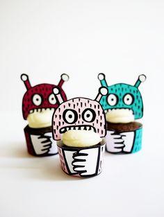 Recipientes para cupcakes // Printable Monster Mini-Cupcake Holders | Oh Happy Day!