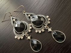 Earrings Black and Antiques Silver Tone w Clear Crystals Earwire Hooks E170 #Unbranded #DropDangle