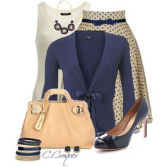 """Champagne & Navy"" by ccroquer on Polyvore"