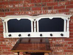 Chalkboard coat rack made from old headboard