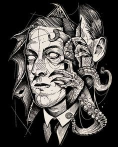 Another ridiculously amazing portrait piece by of hp lovecraft. Coming soon on some shirts. Hp Lovecraft, Lovecraft Cthulhu, Arte Horror, Horror Art, Cthulhu Tattoo, Call Of Cthulhu Rpg, Lovecraftian Horror, Eldritch Horror, Occult Art