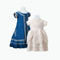 Girls' white cotton and blue silk dresses, c. 1880. Courtesy of the Historisches Museum Basel.