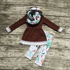Preorder-brown top with 3 piece lace and pompom scarf set