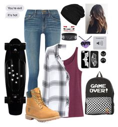 Fall outfit by skatergurl58 on Polyvore featuring polyvore, fashion, style, Rails, Frame, H&M, Timberland, Vans, Hot Topic, The North Face, Casetify and clothing