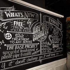 Hair Salon Chalkboard Wall – Let Em Have It Salon - a. tanguay & co - Fine Chalklatiers - Denver, CO Blackboard Art, Chalkboard Lettering, Chalkboard Designs, Chalkboard Walls, Chalkboard Writing, Chalk Design, Sign Design, Lettering Design, Chalk Wall
