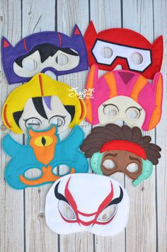Your little one can save the day wearing these fun masks as one of their favorite characters. These some with elastic attached for easy on and off