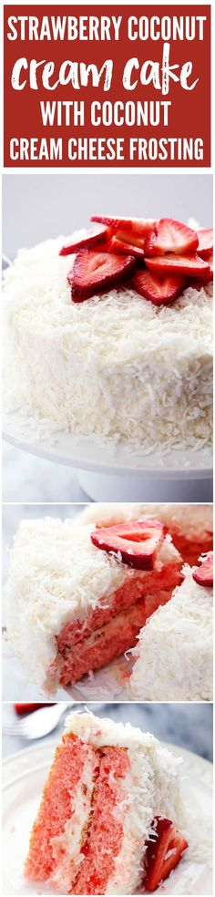 A delicious and moist strawberry coconut cream cake with an amazing coconut cream cheese frosting!