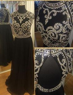 Fashion Black Beading Prom Dresses Long Formal Dress SP1131