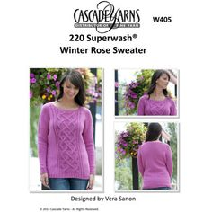 Winter Rose Sweater in Cascade 220 Superwash - W405. Discover more Patterns by Cascade Yarns at LoveKnitting. We stock patterns, yarn, needles and books from all of your favorite brands.