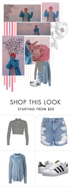 """JIMIN"" by ninaxo17 ❤ liked on Polyvore featuring Topshop, Faith Connexion and adidas Originals"