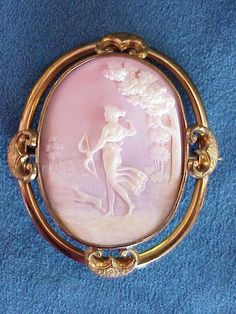 ☼ ۞  Antique pink cameo, goddess of Hunting Diana/Artemis  and her dog _A Theme from the Ancient Greek Culture *