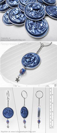 Cornflower-Blue Star Keychain - A handmade recycled keychain, made of blue Nespresso capsules. by InJoyJewelryArt