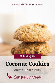 These vegan coconut cookies are absolutely delicious. They're thick and cakey, just sweet enough, with the perfect balance of banana and coconut flavour. They go great with your morning cup of coffee, and make the ultimate afternoon sweet snack. Plus, they're egg, dairy and nut free! #vegan #cookies Easy Vegan Cookies, Coconut Cookies, Healthy Cookies, Vegan Desserts, Vegan Recipes, Snack Recipes, Dessert Recipes, Vegan Christmas, Christmas Recipes