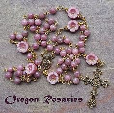 Lepidolite, Uncommon Gemstone Rosary, Gold #OR1388
