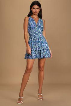 Blue Floral Print Dress - Skater Mini Dress - Tiered Mini Dress - Lulus Cute Short Dresses, Cute Floral Dresses, Women's Dresses, Dresses Online, Ruched Dress, Bodycon Dress, Mini Skater Dress, Skater Skirt, Short Cocktail Dress