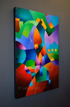 Original Abstract Fine Art Painting on Canvas, Original Geometric Art Painting, Hard Edge Painting, Colorful Original Painting on Canvas Abstract Geometric Art, Abstract Canvas, Canvas Art, Small Paintings, Original Paintings, Cubist Paintings, Hard Edge Painting, Art Projects, Fine Art