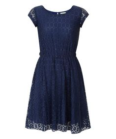 Look at this Yumi Girls Navy Lace Cap-Sleeve Dress - Girls on #zulily today!
