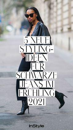 Styling-Ideen: Auch im Frühling 2021 liegt die Dark Denim wieder im Trend. Wir zeigen fünf erfrischende Styling-Ideen zum Nachmachen! #instyle #instylegermany #mode #modetrend #jeans #jeanstrend #denim #denimtrend #hose #hosentrend #schwarzejeans #darkdenim #stylingtipps Jeans Rock, Denim Jeans, Jeans Trend, Cooler Look, Overall, Cropped Jeans, Trends, Blazer, Outfit