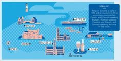 """ANTWERP FOR MONOCLE Map info graphic from a series of illustrations for Monocle magazine. The illustrations appear in the Antwerp city guide that's part of Monocle's annual magazine """"The Forecast""""."""