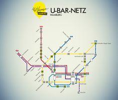 Eine Karte, in der die wichtigsten Kneipen, Bars und Clubs in fußläufiger Nähe der jeweiligen S- oder U-Bahn-Stationen verzeichnet sind.