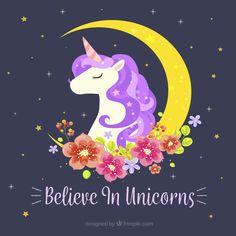 Fondo de unicornio con luna y decoración floral Vector Gratis