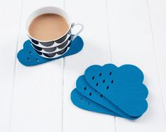 Brighten up your morning with colorful cloud coasters.