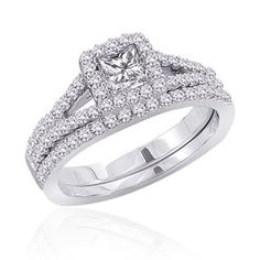 Princess and Round Diamond Wedding Ring Band Set