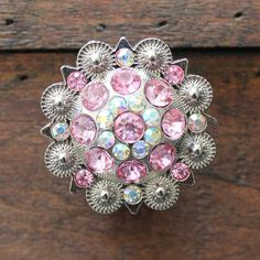 Crystal Drawer Knob with Pink and light Pink Crystals by DaRosa, $10.00 Great dresser knobs for a little princess!