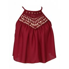 Choies Red Halter Lace Panel Cut Out Crop Top ($11) ❤ liked on Polyvore featuring tops, red, red halter neck top, cutout crop top, halter crop top, cut-out tops and lace inset top