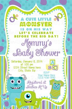 Monsters Inc Baby Shower Invitation 25 prints by RockinRompers, $20.00