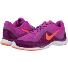 Nike Flex Trainer 6 (Hyper Violet/Cosmic Purple/Bright Grape/Total... ($63) ❤ liked on Polyvore featuring shoes, athletic shoes, pink, mesh shoes, cross training shoes, purple shoes, breathable shoes and nike shoes