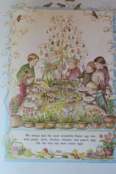 Too lazy to find which box has Tasha Tudor's A Time to Keep in it, but I always wanted an egg tree. This might be a neat idea for Lucia's room.    The Charm of Home: Tasha Tudor