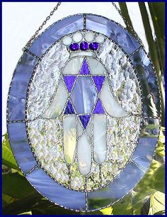 Stained Glass Suncatcher  Blue & White by StainedGlassDelight, $52.95
