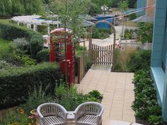 Dementia gardens - reminder objects such as red telephone box