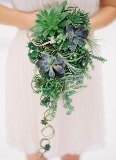 Love this succulent cascading wedding bouquet.