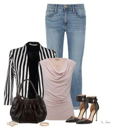 """This Look"" by ksims-1 ❤ liked on Polyvore featuring Frame Denim, Giorgia & Johns, M&Co, Nancy Gonzalez, Gianvito Rossi, Monsoon and Michael Kors"