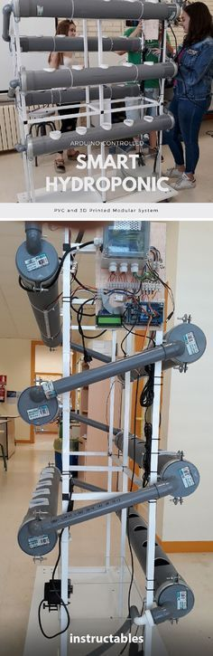 Arduino Controlled Smart Hydroponic Modular System We're so impressed with this project that was designed to be a teaching tool at a school! It's both automated and portable so it can be shared between classrooms! Hydroponic Farming, Aquaponics Diy, Hydroponics System, Aquaponics Greenhouse, Pi Projects, Garden Projects, Project Ideas, Diy Electronics, Electronics Projects