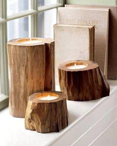 Simples, de magnifiques bougeoirs ! A noter que ceux-ci ont été travaillés mais vous pouvez les laisser bruts pour un résultat plus naturel !