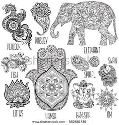 Lotus, hamsa, elephant, Ganesha and other symbols used in mihendi.